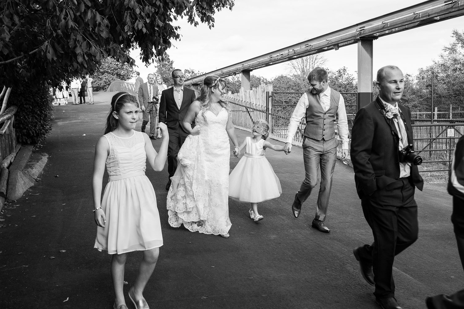 Wedding guests at chester zoo