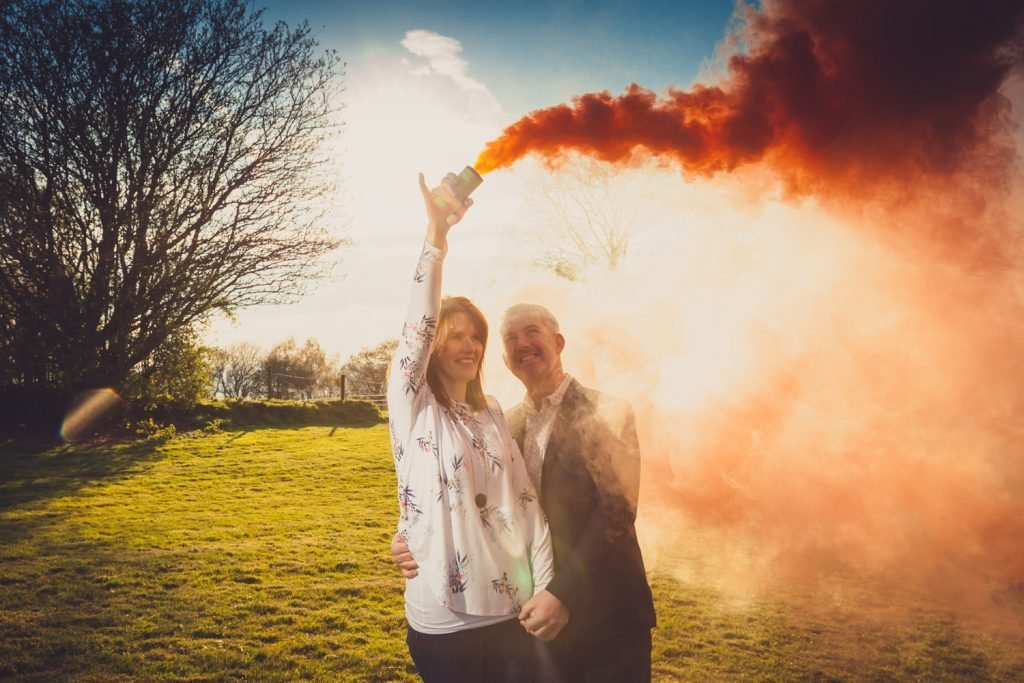 Smoke bomb photo shoot